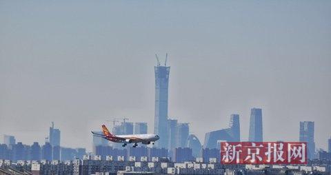 今日北京空气质量达到优级 在首都机场可拍到山区积雪